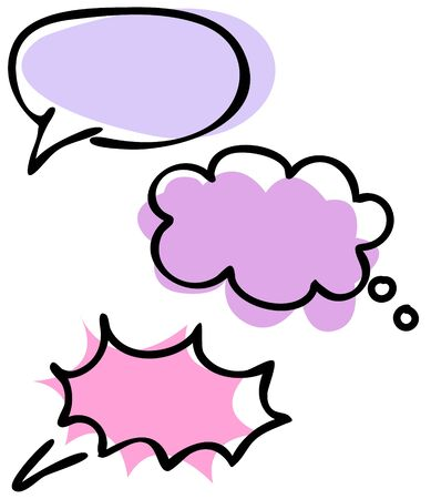 Vector isolated illustration of a set of empty speech bubbles in lines and in color. Ilustração