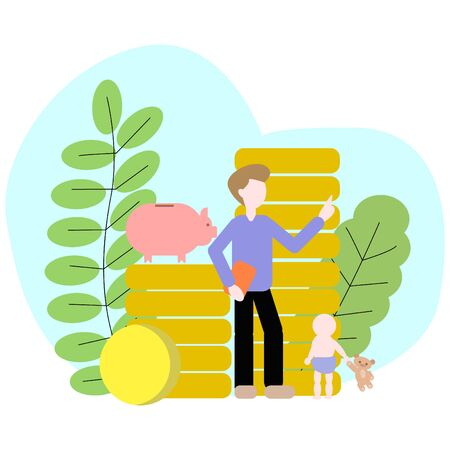 An adult teaches a child and points to a stack of coins on which there is piggy bank. Stock Illustratie