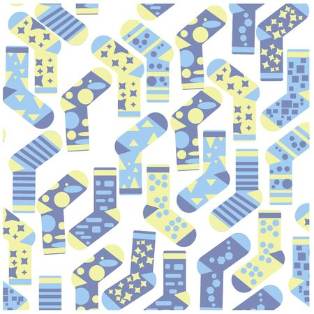 Vector seamless flat pattern of a set of different socks