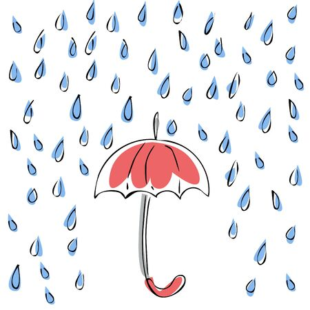 Falling raindrops and a red umbrella. Lines and color are used. Vector illustration.