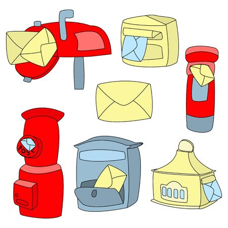 Vector illustration of a set of different mailboxes. Used color and contour. Flat style, communication concept.
