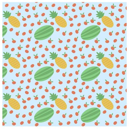 Vector flat pattern of fruits, berries, which included apples, pineapple and watermelon. It can be used as a background or separate object to works with the appropriate context. Ilustração