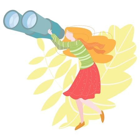 Vector flat illustration of a girl looking through binoculars. Concept of information search.