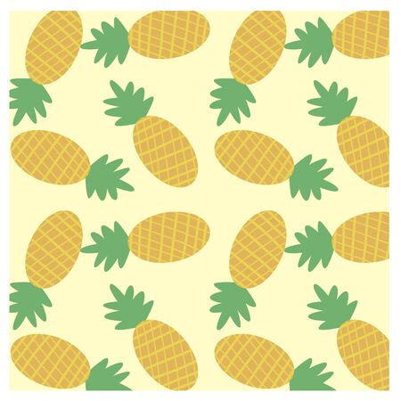 Vector flat pattern of pineapples, made in vintage style. It can be used as a background or a separate object to work with the appropriate context. Ilustração