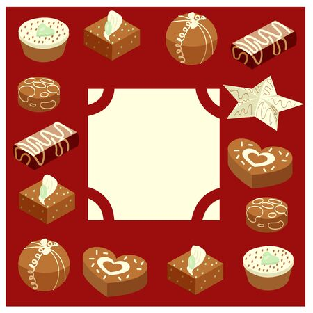 Set of chocolates, which framed the frame. In the center there is a place for text. Context of congratulations. Vector illustration.