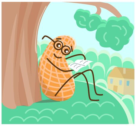 Vector illustration of a reading peanut nut in the Park. The context of a healthy diet and lifestyle. Stock Illustratie