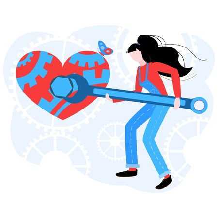 Vector flat modern illustration of a woman who repairs an abstract heart. The concept of falling in love, a broken heart, working on relationship in couple.