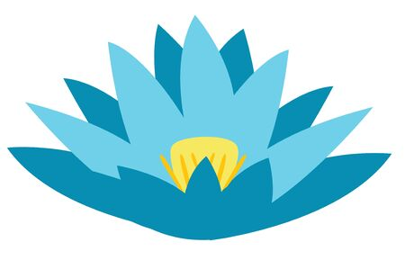 Vector flat illustration of isolated, simplified, unfolded, blue Lotus flower. Can be used in work with the appropriate context. 向量圖像