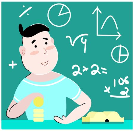 Vector flat illustration of a teenager who is learning from books of financial literacy and Economics. In the background is Board with children s tasks. The concept - children s Finance.