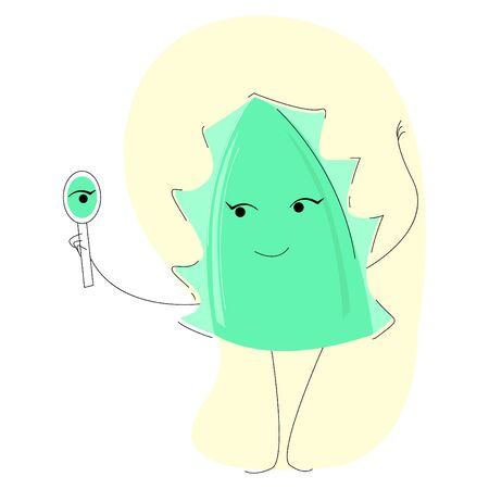 Vector illustration of a cartoon aloe leaf smiling at its reflection in the mirror. The concept is the therapeutic property of aloe in dermatology.