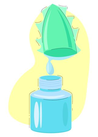 Vector illustration of an aloe Vera leaf dripping juice into a glass bottle. Иллюстрация
