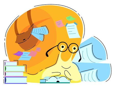 Vector illustration of a snail reading a book. In the background there are many books, drawings, notes that speak of mental labor. The concept is self-development, self-education.