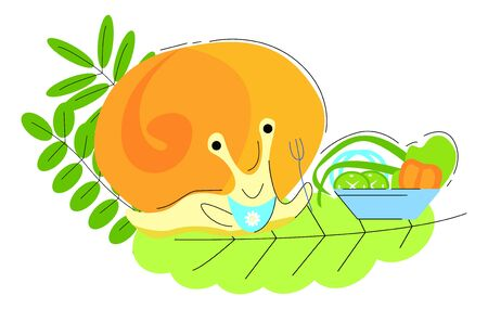 Vector illustration of a small, cute snail that happily eats salad. It can be used as a separate object in the work with the corresponding context.