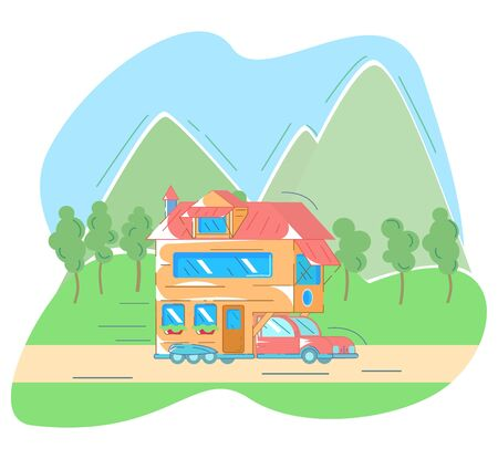 Van for traveling rides on the road, in background are the houses of mountains. Concept of living in a trailer. Vector flat style with lines.