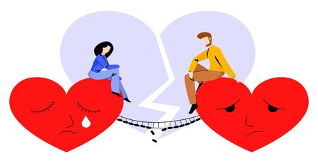 Vector illustration-metaphor of couple who ended relationship. Man and woman sit on large, sad hearts, between which is a bridge destroyed by lightning. In the background is a heart split by the same lightning.