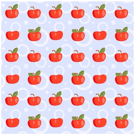 Vector pattern of a set of apples symmetrically arranged