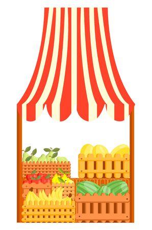 Vector cartoon illustration of a market stall with fruits Illustration