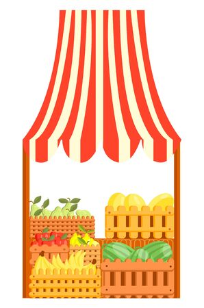 Vector cartoon illustration of a market stall with fruits
