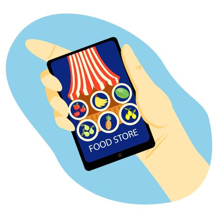 Vector illustration of a hand holding a phone, on the screen of which is an abstract virtual market stall with fruit in circles.