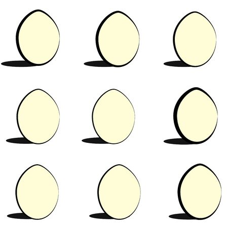 Vector illustration of a set of monochrome abstract isolated Easter eggs on a blank background Illustration