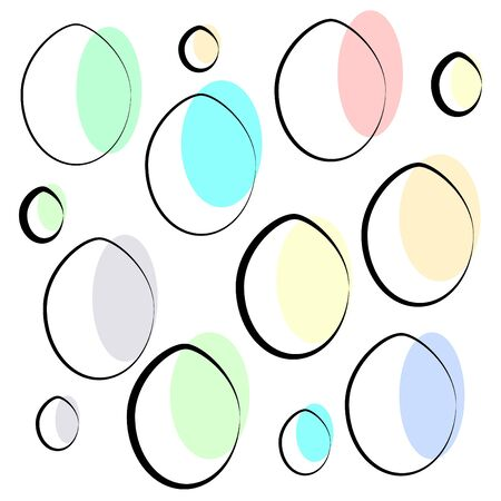 Vector illustration of a set of colorful abstract isolated Easter eggs of different sizes on an empty background. Offset color and uneven lines are used. 矢量图像