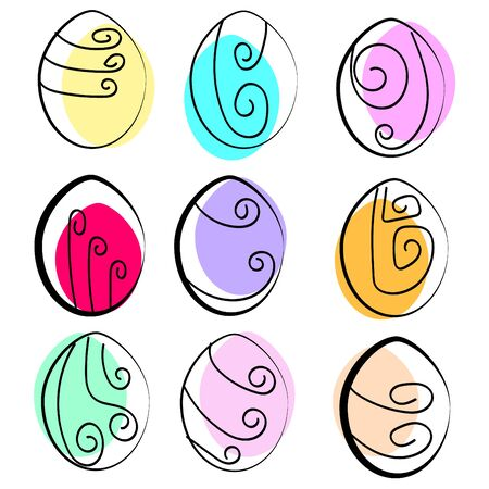 Vector illustration of a set of multicolored abstract isolated Easter eggs Illustration