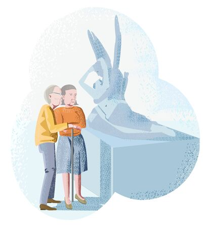 Vector illustration of an elderly couple in love in the Museum
