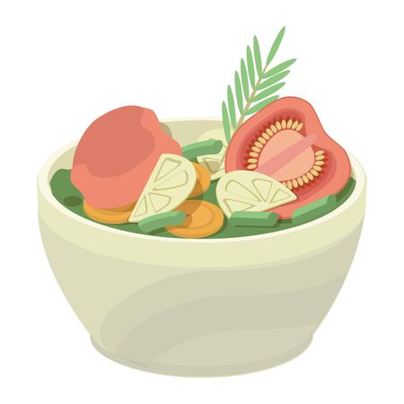 Vector illustration of a salad that includes baked slices of tomato, eggplant, carrot, green beans and rosemary sprigs. The concept of healthy, proper, rational nutrition.