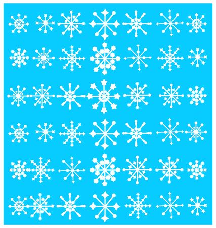 Vector set of various snowflakes. You can use it as a background or as a separate element when working with the appropriate context. Ilustração