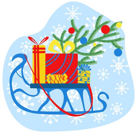 Vector illustration of flat, unusual sledge on which there are gifts and a branch of a Christmas tree with toys.