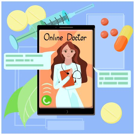 Vector cartoon illustration of a doctor with stethoscope on the phone screen.