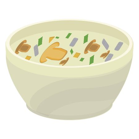 Vector illustration of a plate with mushroom soup on cream. Stok Fotoğraf - 133230944