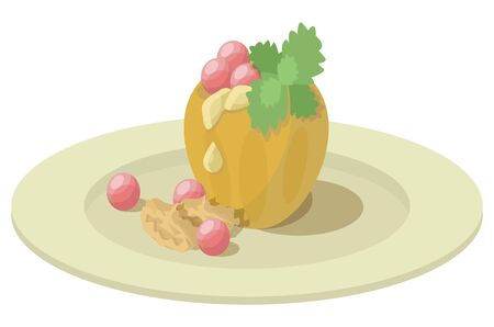 Vector illustration of a dish with baked apple, cranberry berries, melissa leaves, walnut kernels, honey.
