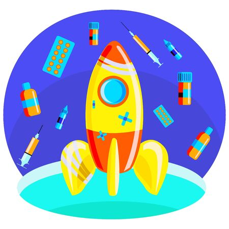 Metaphor for a rocket taking off into space, where medicine are depicted instead of stars. Taking off a rocket means development, but here the rocket has problem. Together with medicine, this means the emergence of a number of health problems and finding ways to solve them.