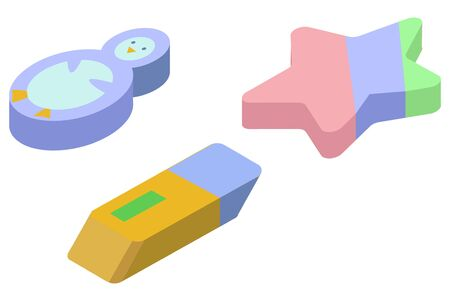 Vector illustration of a set three different, colored, volumetric erasers. Stock Illustratie