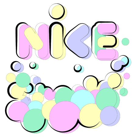 Vector illustration of word nice lettering that is written in form of bubbles. Used color and offset uneven contour. Can be applied as isolated item in postcards or works with appropriate context.