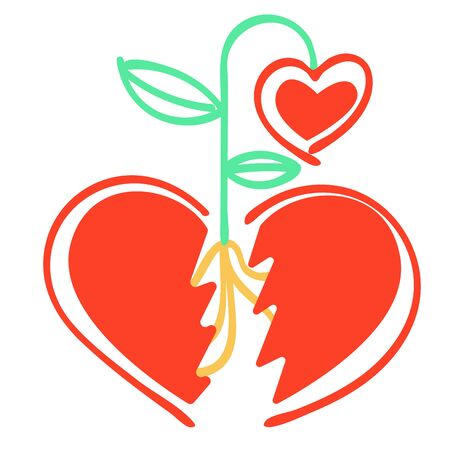 Vector metaphor of abstract split heart, between the parts which sprouted sprout of new heart-flower.