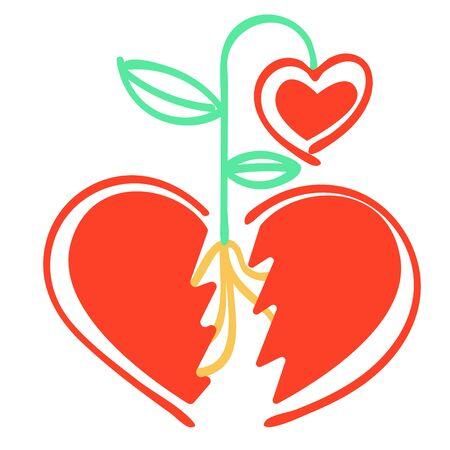 Wektorowa metafora abstrakcyjnego podzielonego serca, między częściami, z których wyrosły nowe serce-kwiat.