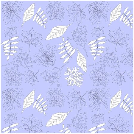 Vector pattern of natural elements leaves, pine cones, pieces of moss. Illustration