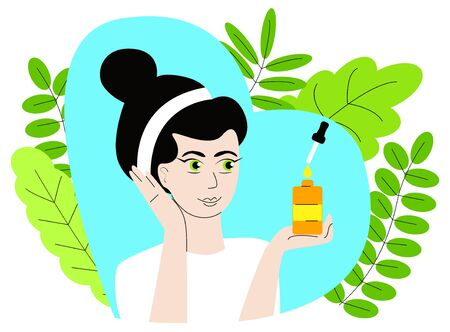 Vector isolated illustration where an attractive woman holding a bottle of facial oil, background decorated with leaves. The concept of using useful oils in cosmetology, dermatology.