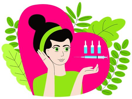 Vector isolated illustration where syringes with ampoules are depicted above hand of an attractive woman