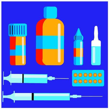 Vector set of different medicines on blue background. Medical concept.