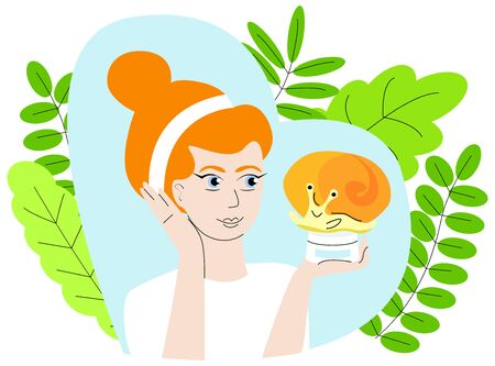 Vector isolated illustration of woman holding a bottle of face cream on which is a snail, background decorated with leaves.