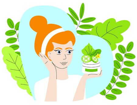 Vector isolated illustration where woman holds bottle of face cream, above which depicted part cucumber with leaf and flower, the background decorated with leaves. The concept is using useful properties of cucumber in cosmetology, dermatology.