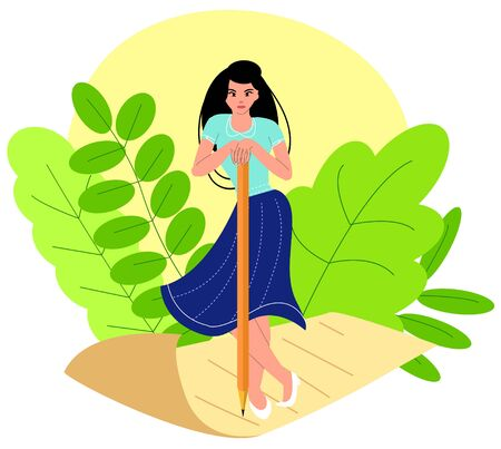 Vector illustration of creative woman with character, standing on yellowed piece of paper.