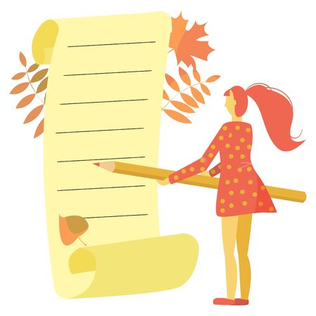 Flat monochrome picture in orange shades. Girl depicted standing with pencil in front of empty sheet of yellowed paper. Autumn leaves in background. Can be used in decorative notebooks for writing. Ilustracja