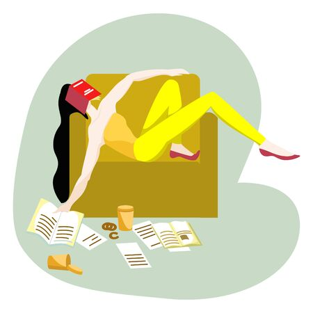 Vector flat illustration girl sleeping in chair, tired of reading. She was tired of preparations for exam at the University or school. Books, papers, coffee cups, and cookies are scattered on the floor.