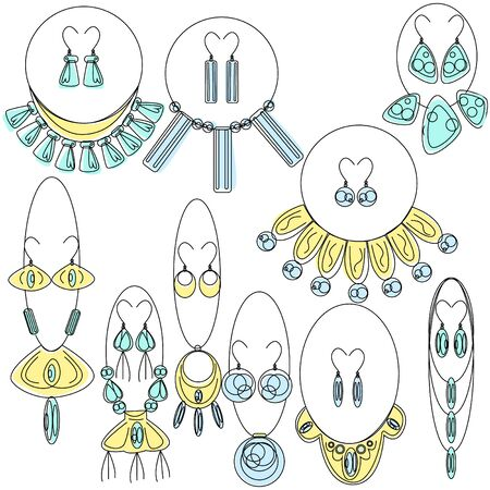 Vector illustration using lines and offset color. Depicted sets of jewelry, which include earrings and necklaces with stones, metal and leather. The style of the items is more Bohemian, some ethnic.