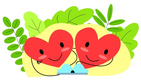 Vector flat illustration of two animated abstract happy hearts reading one book.