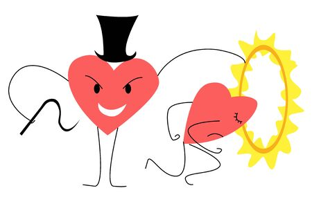 Vector flat abstract illustration-metaphor of two animated hearts, which one performs role of trainer, forcing the other to jump through burning Hoop. Concept is manipulation and violence in a couple.